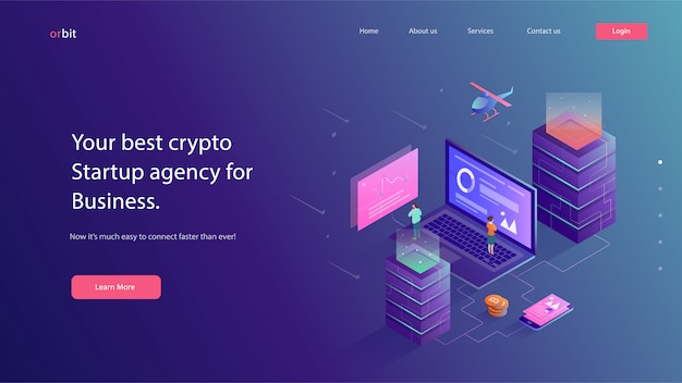 Crypto currency website vector illustration