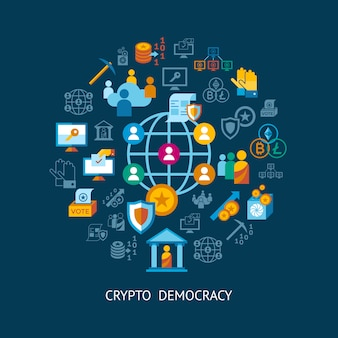 Коллекция значков крипто демократии и безопасности