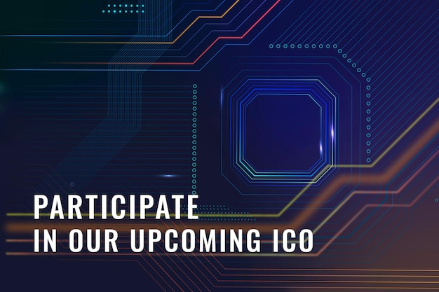Crypto ico investment template vector digital finance blog banner
