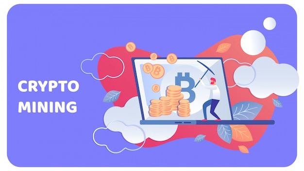 Crypto mining business flat vector illustration