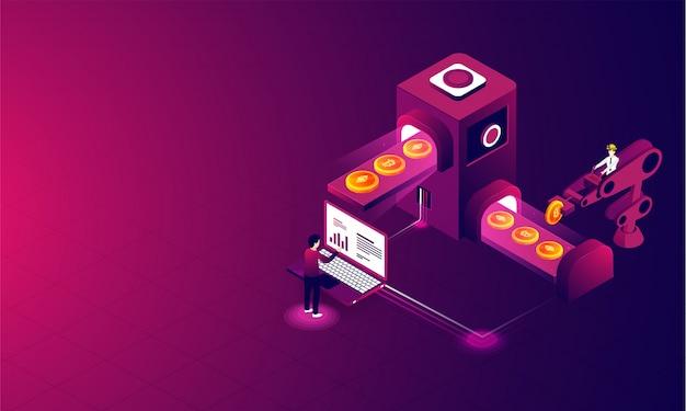 Crypto mining concept based isometric design.
