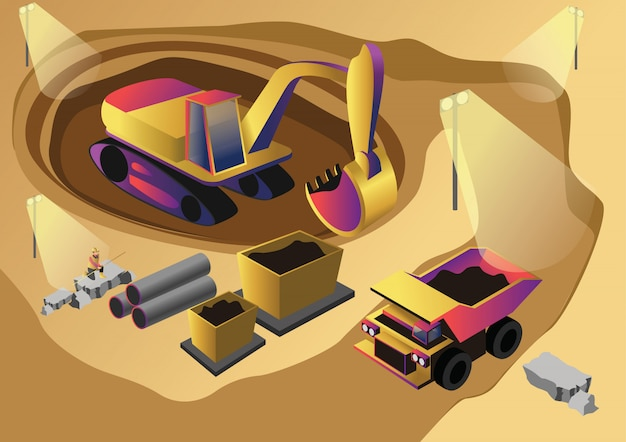 Crypto mining web flat illustration