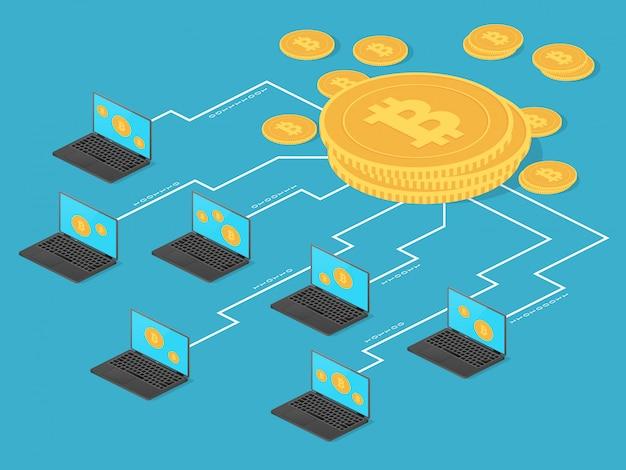 Крипто-деньги и чистые банковские операции. биткойн майнинг векторный концепт