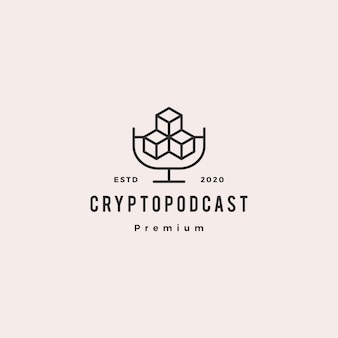Crypto podcast logo hipster retro vintage icon for blockchain cryptocurrency blog video vlog review tutorial channel