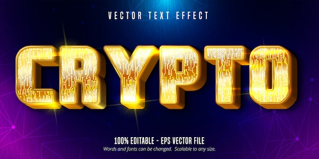 Crypto text, shiny gold style editable text effect