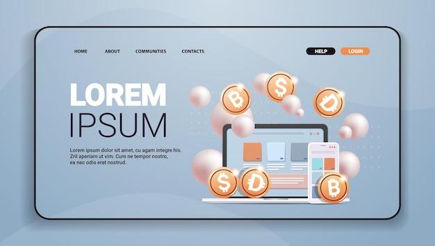 Приложение для криптовалюты с золотыми монетами, технология блокчейн криптовалюты, концепция цифровой валюты