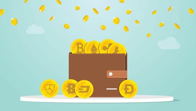 Крипто-кошелек или цифровые деньги криптовалюты с различным набором золотых монет с современной квартирой