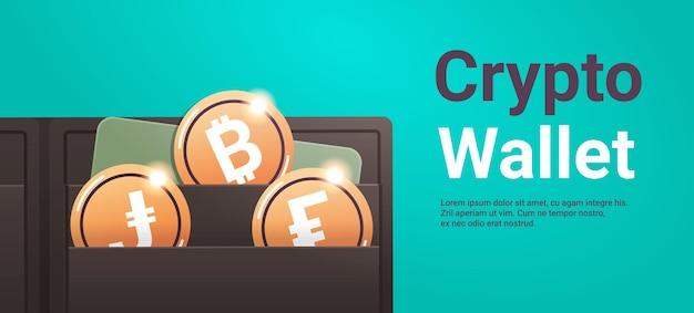 Криптокошелек с золотыми монетами технология блокчейн криптовалюты концепция цифровой валюты горизонтальная копия пространства векторная иллюстрация