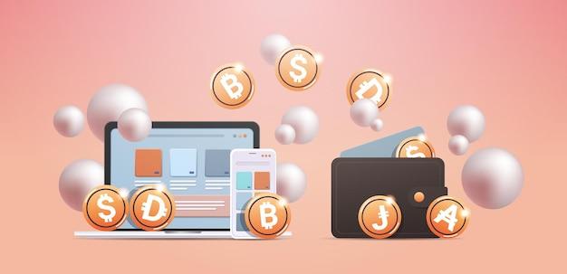 Криптокошелек с золотыми монетами технология блокчейн криптовалюты концепция цифровой валюты горизонтальная векторная иллюстрация