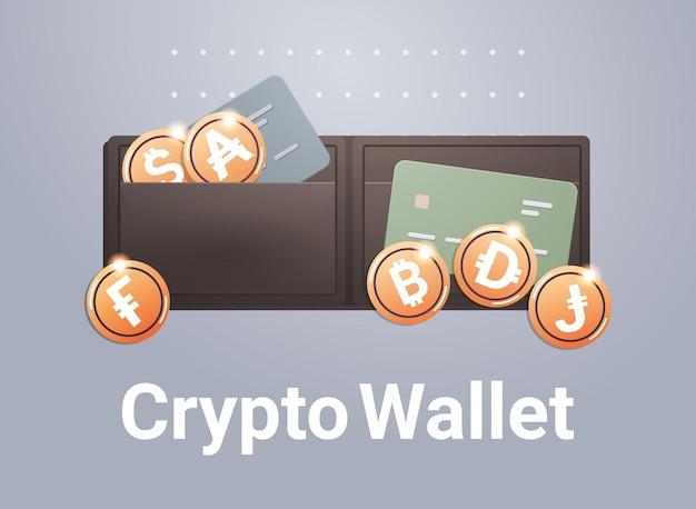 Крипто-кошелек с золотыми монетами технология блокчейн криптовалюты концепция цифровой валюты горизонтальная