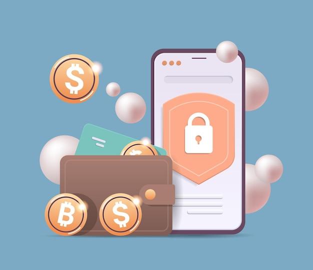 스마트폰 화면에 황금 동전이 있는 암호화 지갑 암호 화폐 블록체인 기술 디지털 통화