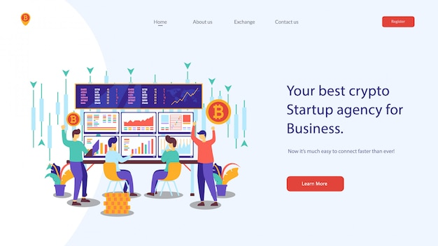 Crypto website vector illustration