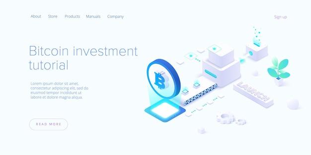 Ферма для майнинга криптовалют. изометрические бизнес-сети криптовалюты и блокчейн.