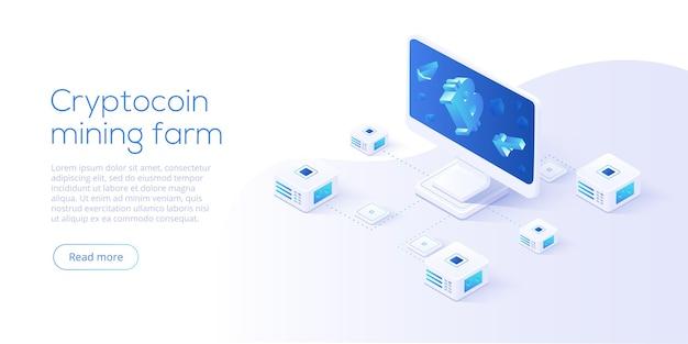 Схема фермы для майнинга криптовалют. изометрические бизнес-сети криптовалюты и блокчейн. обмен криптовалюты или фон процесса транзакции.