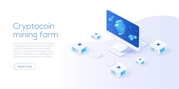 Cryptocoin mining farm layout. cryptocurrency and blockchain network business isometric. crypto currency exchange or transaction process background.