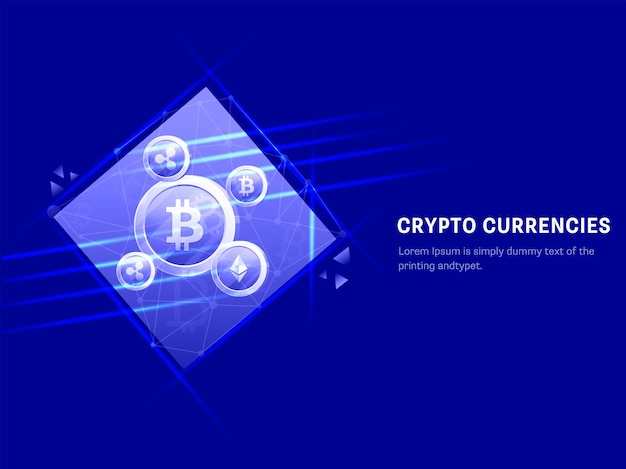 青い背景に暗号コインとライトの効果を持つ暗号通貨のコンセプトベースのポスターデザイン。