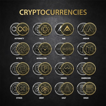暗号通貨ゴールドセットコレクション Premiumベクター