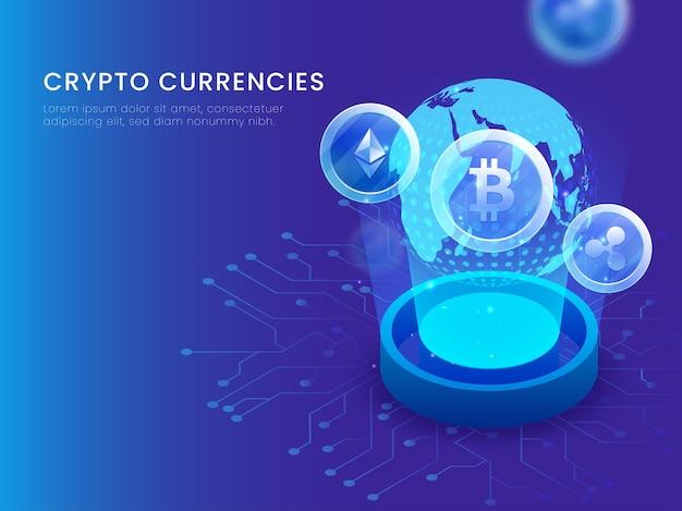 Дизайн плаката криптовалюты с трехмерным земным шаром между возникающими лучами на синем фоне.