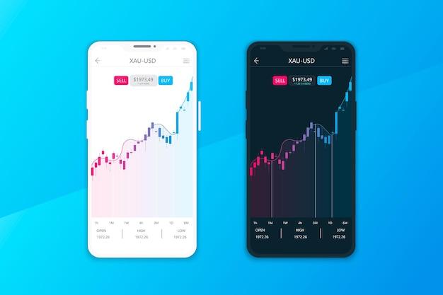 Концепция пользовательского интерфейса или пользовательского интерфейса для мобильных приложений для торговли и обмена криптовалютами