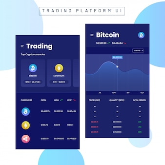 Cryptocurrencies trading and exchange ui for mobile apps.