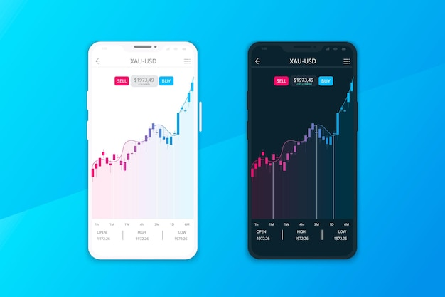 Cryptocurrencies trading and exchange ui or ux concept for mobile apps
