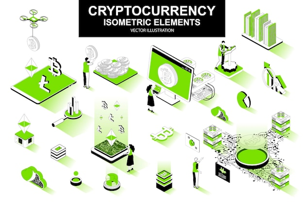 Cryptocurrency 3d isometric line elements