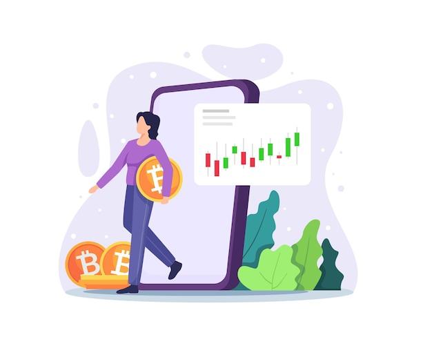 암호 화폐 및 블록 체인 기술 디지털 화폐 투자 및 동전을 들고 거래하는 여자