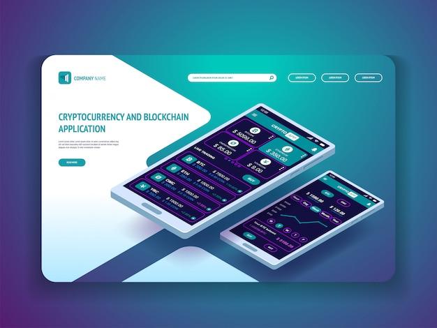 Криптовалюта и блокчейн-приложение для баннерной целевой страницы смартфона