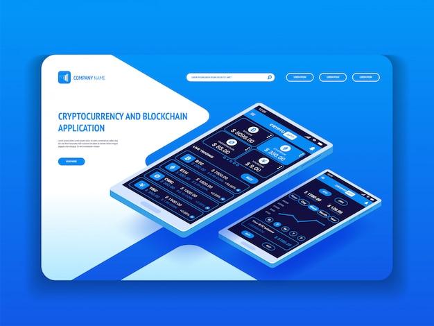 Криптовалюта и блокчейн приложение для смартфона. шаблон заголовка для вашего сайта. целевая страница.