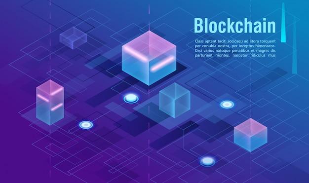 暗号通貨とブロックチェーンの概念、データ駆動型センター、クラウドデータストレージの等角投影図。 web、プレゼンテーションバナー。