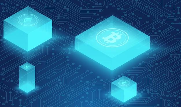 暗号通貨とブロックチェーンの概念、ニューラルネットワーク、データ駆動型センター、クラウドデータストレージの等角投影図。 web、プレゼンテーションバナー。