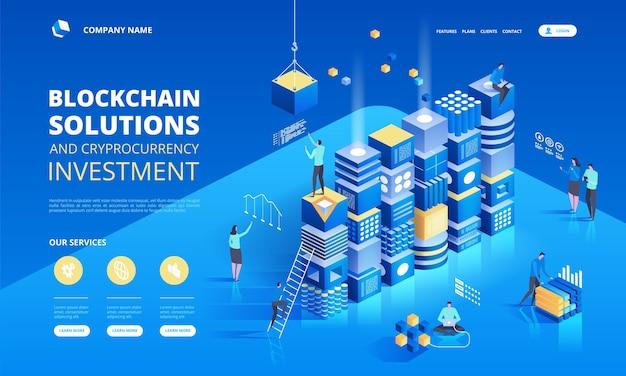 Изометрическая композиция криптовалюты и блокчейна с людьми, аналитиками и менеджерами, работающими над криптовалютным запуском.
