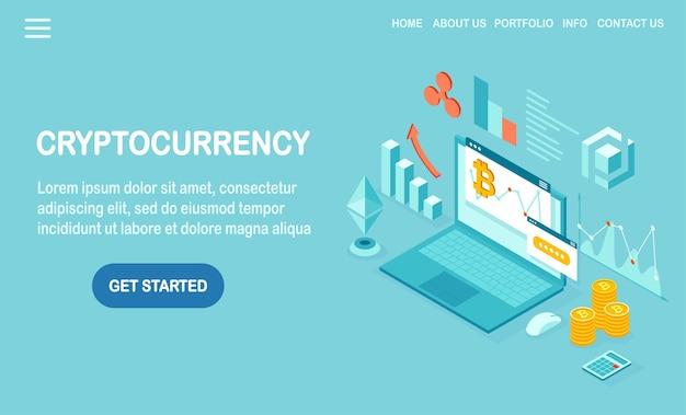 Криптовалюта и блокчейн. майнинг биткойнов. цифровые платежи виртуальными деньгами, финансы. 3d изометрический компьютер, ноутбук с монетой, жетон. дизайн для баннера