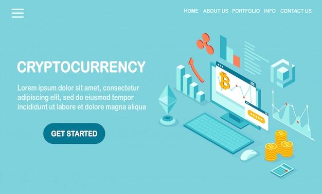Криптовалюта и блокчейн. майнинг биткойнов. цифровые платежи виртуальными деньгами, финансы. 3d изометрический компьютер, ноутбук с монетой, жетон.