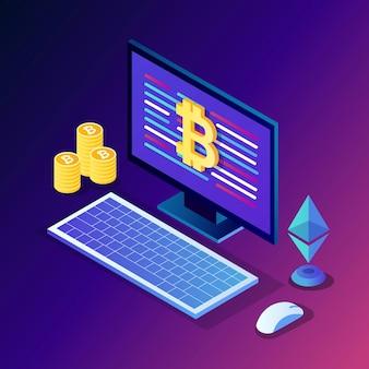 Криптовалюта и блокчейн. майнинг биткойнов. цифровые платежи виртуальными деньгами, финансы. изометрический компьютер, ноутбук с монетой, жетон.