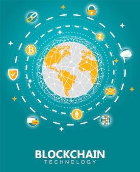 Криптовалюта и блокчейн-баннер с технологией сети