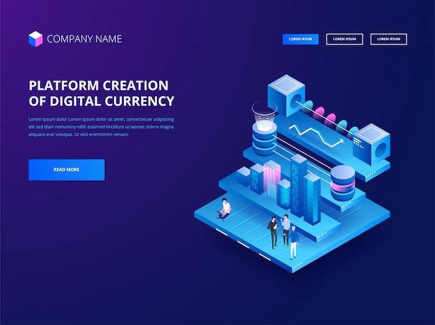 暗号通貨とブロックチェーン。デジタル通貨のプラットフォーム作成。