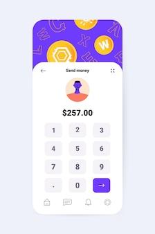 スマートフォンの画面上の暗号通貨アプリケーションの設計仮想送金アプリ銀行取引デジタル通貨の概念垂直ベクトル図
