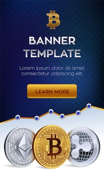 Cryptocurrency banner template. bitcoin, ethereum, ripple  golden coins.