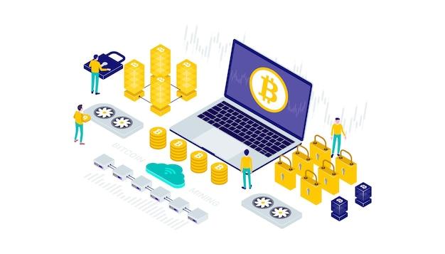 Криптовалюта, биткойн, блокчейн, технология добычи, интернет-панель безопасности iot, изометрическая 3d плоская иллюстрация.