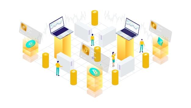 Криптовалюта, биткойн, блокчейн, технология добычи, интернет, безопасность, интернет вещей, мобильная панель управления, изометрическая 3d плоская иллюстрация