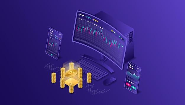 暗号通貨、ビットコイン、ブロックチェーン、マイニング、テクノロジー、インターネットiot、セキュリティ、レスポンシブダッシュボードアイソメトリックイラストcpuコンピューター