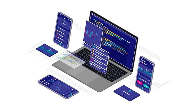 暗号通貨、ビットコイン、ブロックチェーンウェブサイトソフトウェアアプリケーションの設計と開発のアイソメトリックイラストクロスプラットフォームコードレスポンシブ。