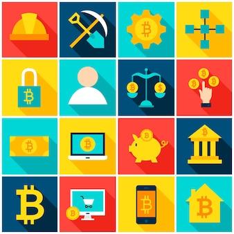 Cryptocurrency bitcoin 다채로운 아이콘입니다. 벡터 일러스트 레이 션. 긴 그림자와 평면 사각형 금융 항목의 집합입니다.