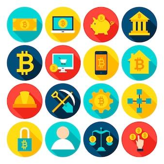 Cryptocurrency bitcoin 평면 아이콘입니다. 벡터 일러스트 레이 션. 긴 그림자와 함께 원형 금융 항목의 집합입니다.