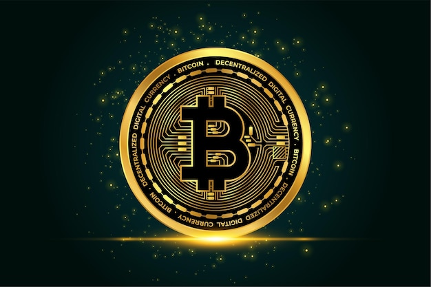 Cryptocurrency bitcoin golden coin background