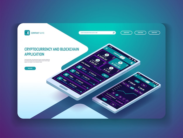 Cryptocurrency and blockchain application for smartphone  banner landing page