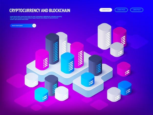 暗号通貨ブロックチェーンのコンセプト。等角投影図