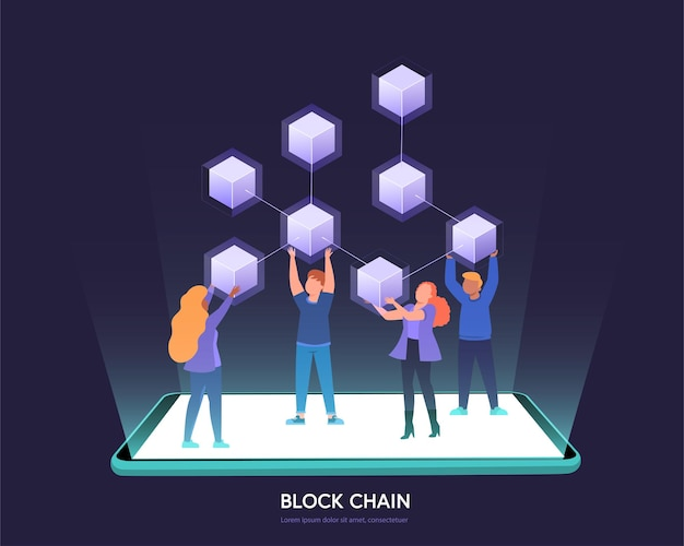 Cryptocurrency and blockchain digital blocks connection for transfer digital money in business security. linked block contain cryptography hash and transaction data. new futuristic system technology.