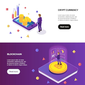 Cryptocurrency and blockchain horizontal isometric banners set with people do mining 3d isolated vector illustration
